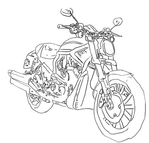 Coloriage et dessins gratuits Harley Davidson dessiné en ligne à imprimer