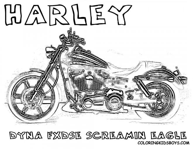 Coloriage et dessins gratuits Harley Davidson Dyna screaming Eagle à imprimer
