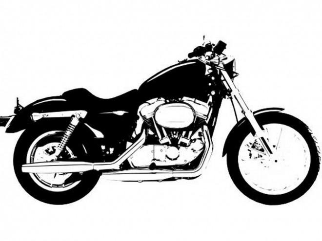 Coloriage et dessins gratuits Harley Davidson en noir à imprimer