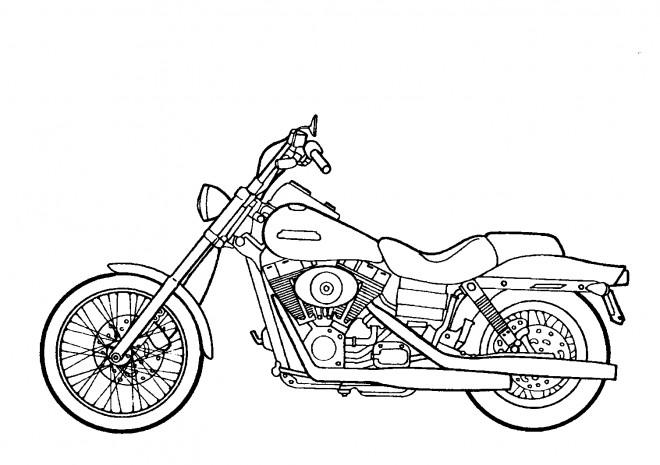 Coloriage et dessins gratuits Harley Davidson en noir et blanc à imprimer