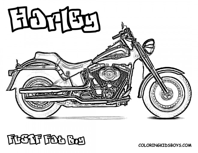 coloriage harley davidson fat boy dessin gratuit imprimer. Black Bedroom Furniture Sets. Home Design Ideas
