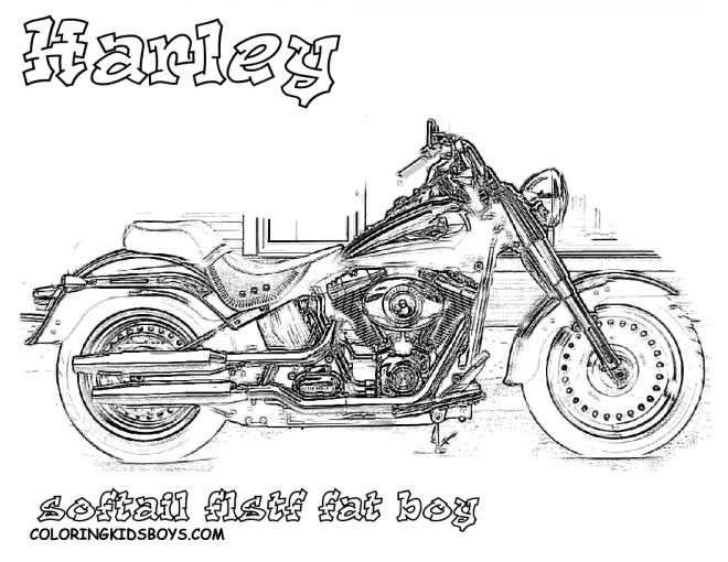 Coloriage et dessins gratuits Harley Davidson Fat Boy à découper à imprimer