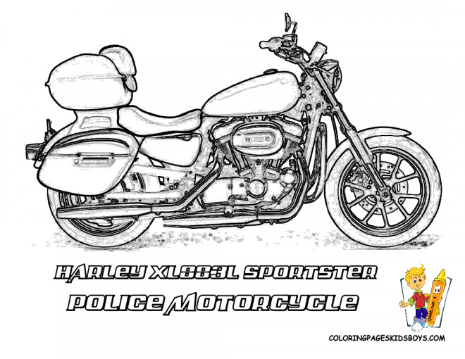 Coloriage et dessins gratuits Harley Davidson Moto de Police à imprimer