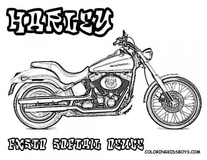 Coloriage et dessins gratuits Harley Davidson Softail Deuce à imprimer