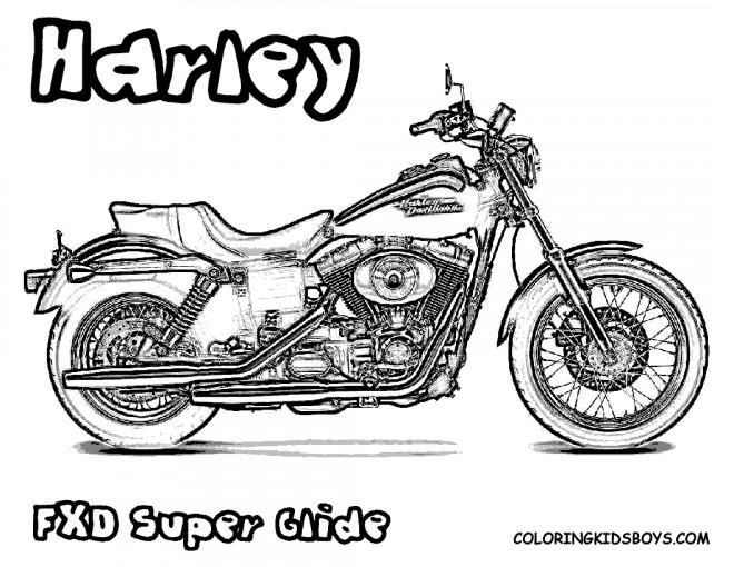 coloriage harley davidson super glide dessin gratuit  u00e0 imprimer
