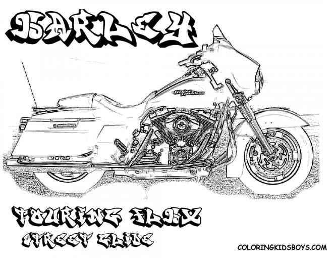 Coloriage et dessins gratuits Harley Davidson Touring couleur à imprimer