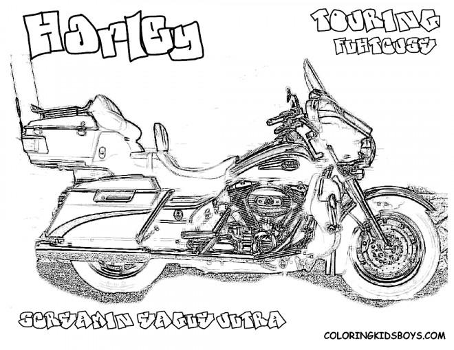 Coloriage et dessins gratuits Harley Davidson Touring réaliste à imprimer