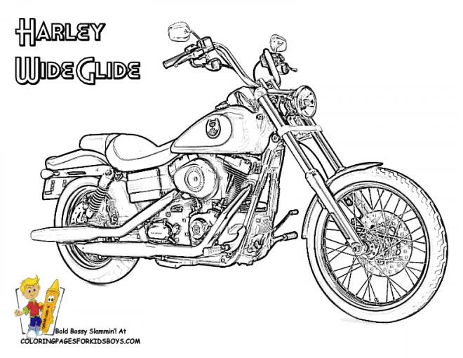 Coloriage et dessins gratuits Harley Wide Glide à imprimer