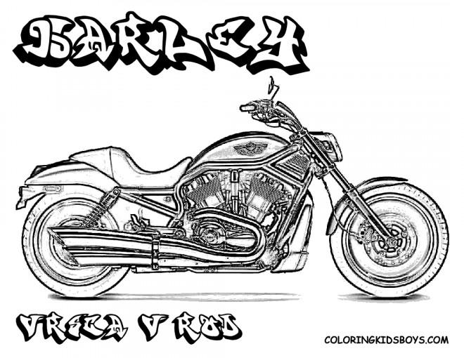 Coloriage et dessins gratuits Illustration Moto Harley Davidson à imprimer