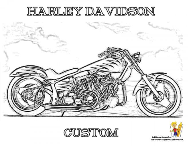 Dessin Moto Custom coloriage moto harley davidson à découper