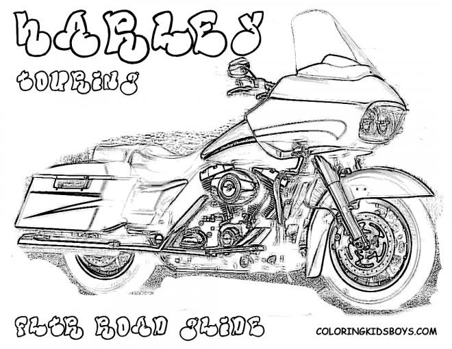 Coloriage et dessins gratuits Moto Harley Davidson pour adulte à imprimer