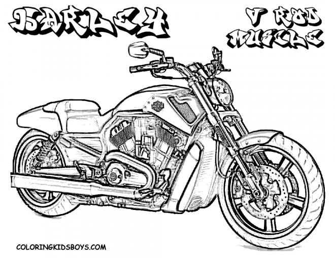 Coloriage et dessins gratuits Moto Harley Davidson puissante à imprimer