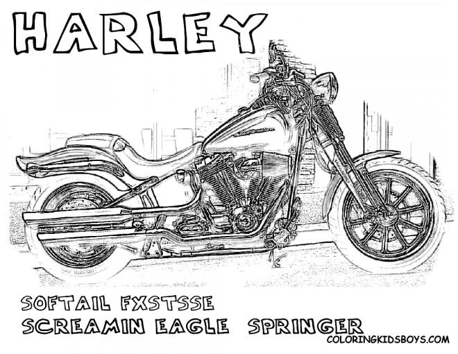 Coloriage et dessins gratuits Moto Harley Davidson Softail FXSTSSE à imprimer