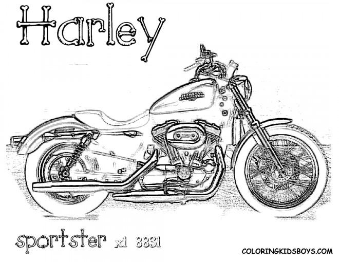 Coloriage et dessins gratuits Moto Harley Davidson Sportster à imprimer