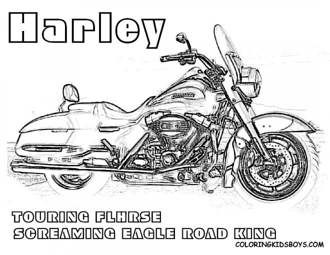 Coloriage et dessins gratuits Moto Harley Davidson Touring à imprimer