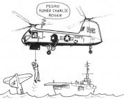 Coloriage Accident d'Hélicoptère militaire