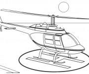 Coloriage et dessins gratuit Atterrissage Hélicoptère à imprimer