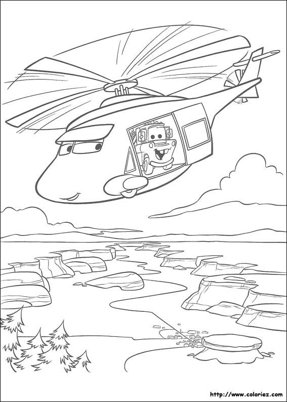 Coloriage et dessins gratuits Hélicoptère de Flash Mcqueen à imprimer