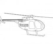Coloriage Helicoptere de Police facile