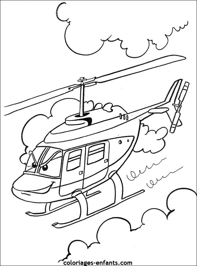 Coloriage et dessins gratuits Hélicoptère dessin animé à imprimer