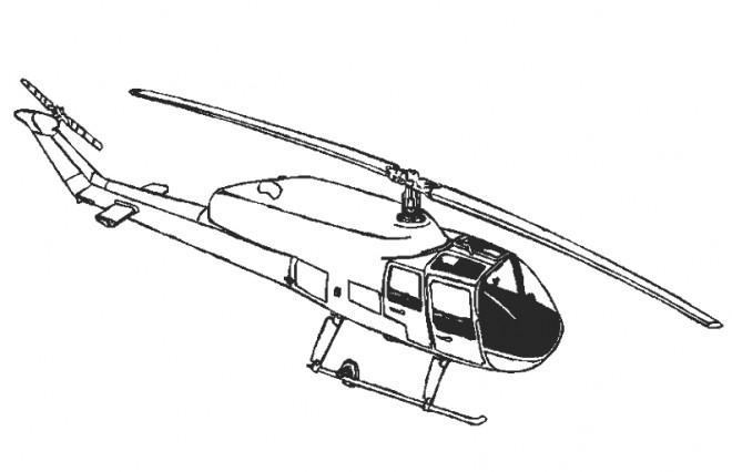 Coloriage et dessins gratuits Hélicoptère en noir et blanc à imprimer