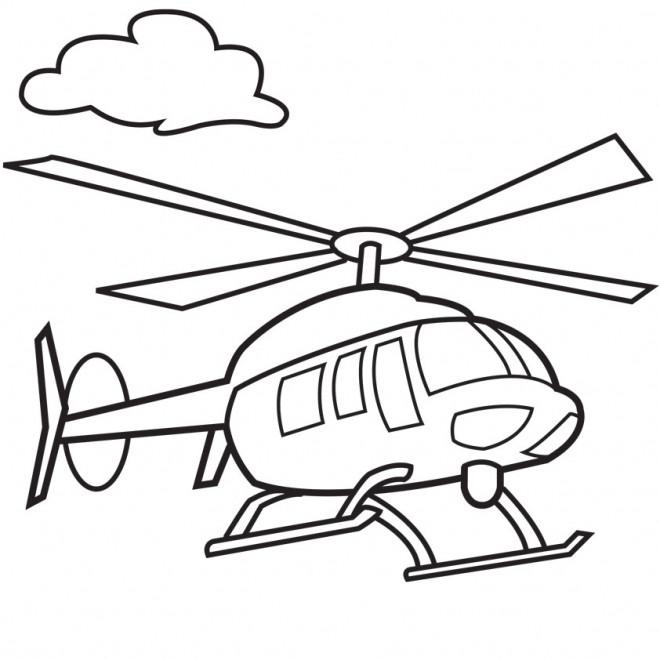Coloriage et dessins gratuits Hélicoptère en vol à imprimer