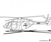 Coloriage Hélicoptère militaire à l'aéroport