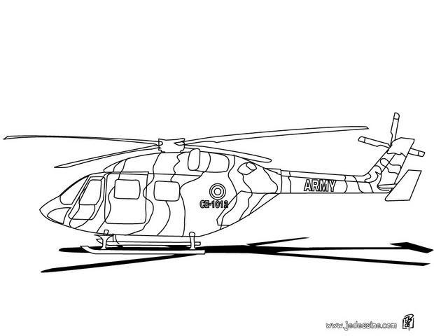Coloriage et dessins gratuits Hélicoptère militaire à l'aéroport à imprimer