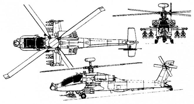 Coloriage et dessins gratuits Hélicoptère militaire Apache à imprimer