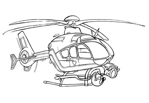 Coloriage et dessins gratuits Hélicoptère militaire de surveillance à imprimer