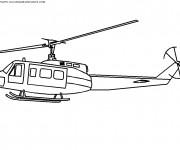 Coloriage Hélicoptère militaire en vol