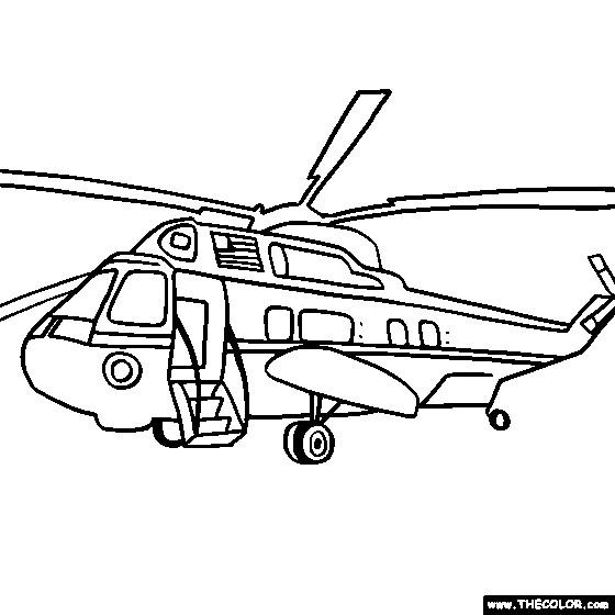 Coloriage et dessins gratuits Hélicoptère présidentiel à imprimer