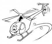Coloriage et dessins gratuit Hélicoptère rigolo à imprimer