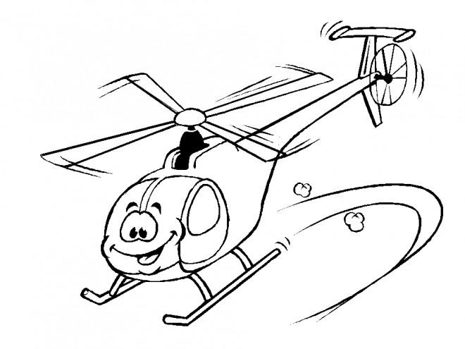 Coloriage et dessins gratuits Hélicoptère rigolo à imprimer