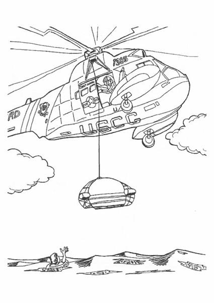 Coloriage et dessins gratuits Hélicoptère sauvetage en mer à imprimer
