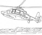 Coloriage et dessins gratuit Hélicoptère sur la mer à imprimer