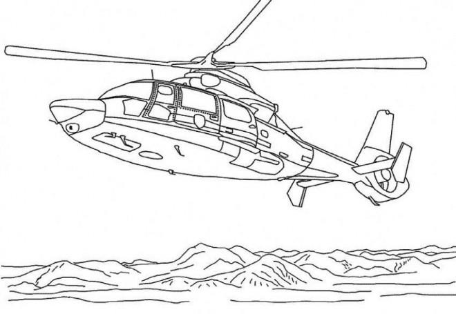 Coloriage et dessins gratuits Hélicoptère sur la mer à imprimer