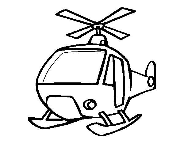 Coloriage et dessins gratuits Hélicoptère sur la terre à imprimer