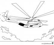 Coloriage Image de Hélicoptère de guerre