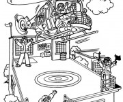 Coloriage Les enfants pilotent L'Hélicoptère
