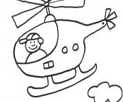 Coloriage et dessins gratuit Petit enfant dans un Hélicoptère à imprimer