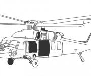Coloriage un Hélicoptère militaire en noir