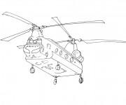 Coloriage Véhicule Hélicoptère militaire