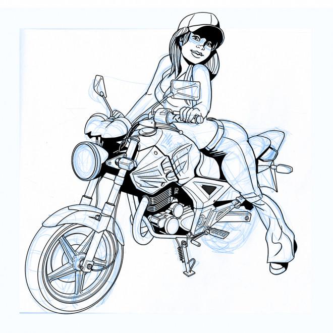 Coloriage et dessins gratuits Fille sur Moto Honda à imprimer