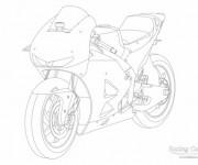 Coloriage Moto de course Honda à colorier