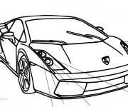 Coloriage et dessins gratuit Automobile Lamborghini en noir et blanc à imprimer