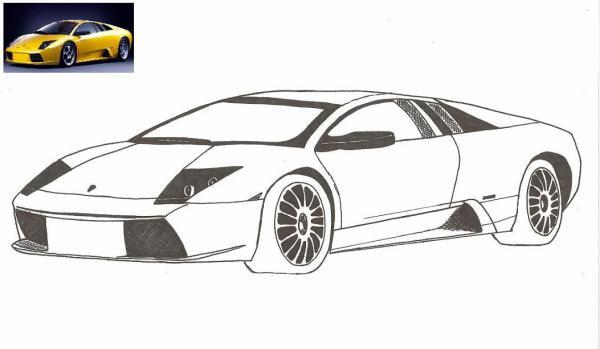 Coloriage et dessins gratuits Lamborghini en Jaune à imprimer