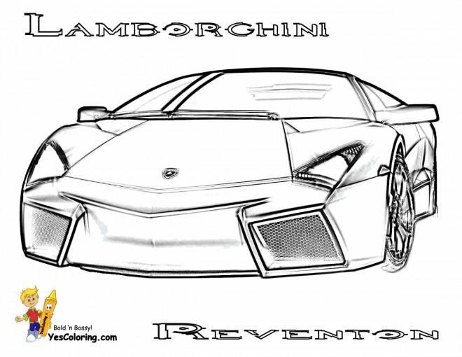 Coloriage et dessins gratuits Lamborghini Reventon vue de face à imprimer