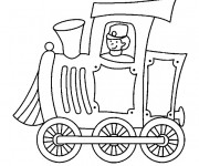 Coloriage Conducteur de train  Locomotive