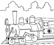 Coloriage Locomotive à découper